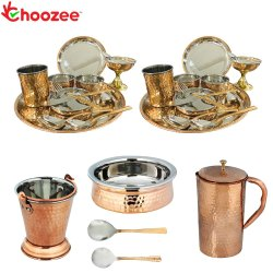 Choozee - Stainless Steel Copper Thali Dinner Set with Serveware & Hammered Pitcher Jug (29 Pcs)