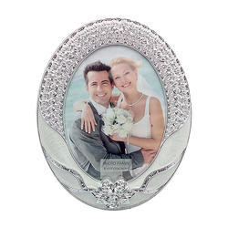 Silver Oval Look Designer Photo Frame Decorative Gift Item