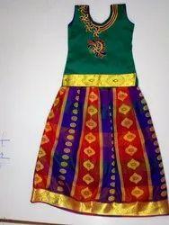 Top and Bottom Embroidery Kids Pattu Pavadai