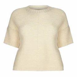 Cream Half Sleeves Ladies Knitted Top