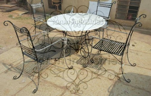 Tarun Industries Round Wrought Iron Dining Table Chair Set 001 Rs 18000 Set Id 21785238348