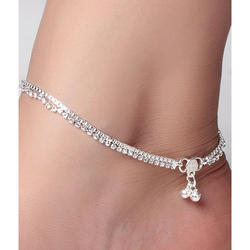 Female Casual Wear Silver Anklets