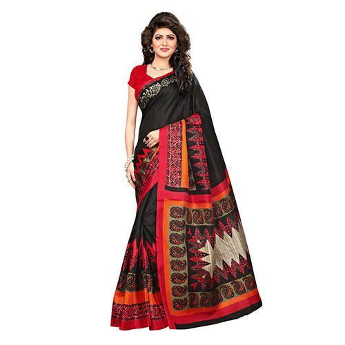 808f45d382 Silk Black Printed Saree With Blouse Piece, Saree Length : 5.2 M, Rs ...