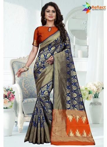 7d6fa3b087b6f Tantalizing Royal Blue Banarasi Silk Traditional Saree