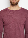 100% Cotton Men Full Sleeve Round Neck Maroon T-Shirt
