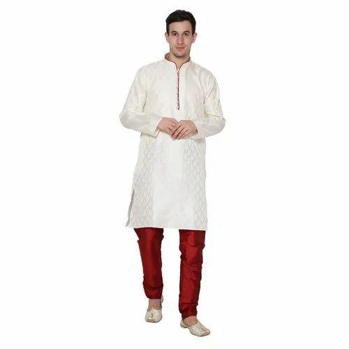 07e00716 Skavij Men' s Dupion Art Silk Ethnic Party Wear Kurta Pajama Dress - (Off