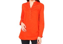 Red Full Sleeve Cotton Top