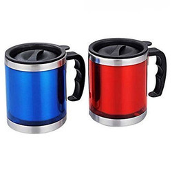 Red And Blue Stainless Steel Coffee Mug, For Office