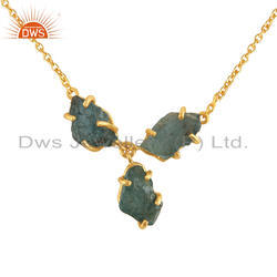 Natural Apatite Gemstone Designer Gold Plated Silver Necklace