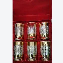 Decorative Brass Drinking Glass Set