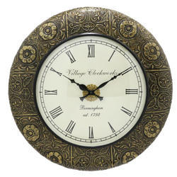 A Wooden Full Brass Carving Work Wall Clock