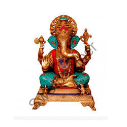 Multicoloured Lord Ganesha Brass Statue