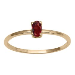Stackable Pure Fine Gold 9k Red Garnet Gemstone Women Engagement Ring