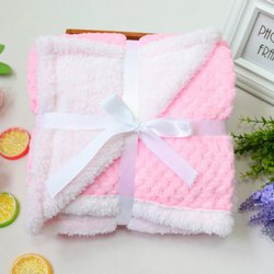 Little Cubs Pink And White Flannel Baby Blanket