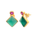 Sea Green & Black Onyx Double Gemstone Sterling Silver Handmade Gold Polished Earring