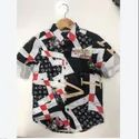Full Sleeves Silk Satin Kids Printed Shirt