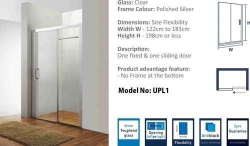 S/S 304 Hinges Shower Door Wall To Wall Shower Enclosure
