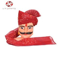 Red Chundari Printed Groom Safa