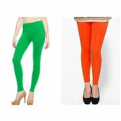 Light Green/Orange Cotton Slim Fit Ladies Legging