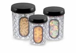 Round Plastic Asian Plastowares Semi Transparent Kitchen Jar Set, 3-Pieces, Weight: 200 Gr