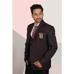 Plain Mens Maroon Designer Suit