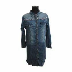 Full Sleeve Party Wear Ladies Denim Short Dress, Size: S-l
