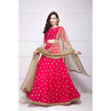 Ladies Dark Pink And Golden Color Semi-stitched Lehenga Choli