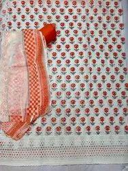 Formal Wear Cotton Chikan Dress Material, Dupatta Length: 2.25 Mtr