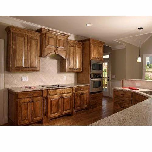 Brown Antique Wooden Kitchen Cabinet, Retro Wooden Kitchen Cabinets
