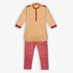 Short Silk Kids Designer Haryanvi Style Kurta Pyjama