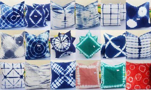 Kantha And Rajasthani Printed Cotton Tie Dye Shibori Indigo Blue Cushion Cover Home Decor