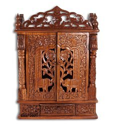 Sheesham Wood Brown Wooden Handicraft Temple for Pooja Room, Size: 21 X 12 X 28 Inch