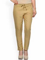 Cotton Beige Color Women's Slim Fit Plain Trousers