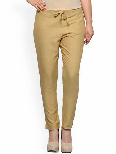 cdc2565fbfd Cotton Beige Color Women's Slim Fit Plain Trousers, Rs 190 /piece ...