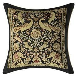 Black Brocade Throw Pillowcase Cushion Cover
