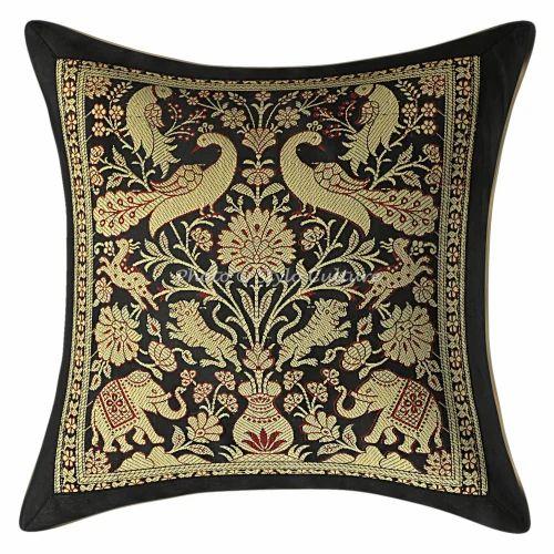 Black Brocade Throw Pillowcase Cushion Cover