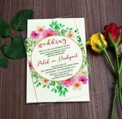 Single Fold Insert Floral Acrylic Wedding Invitation In Flower Design, Size: 8