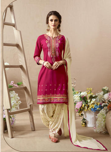 bedd442669 Cotton Embroidery Work Semi-Stiched Patiala Suits, Size: S-XL, Rs ...