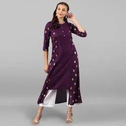 Purple Poly Silk Kurta(JNE2265)