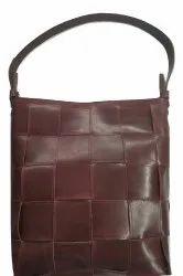 Genuine Leather Weaved Ladies Hand Bag