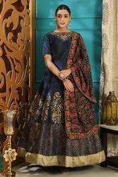 Ethnic Semi-Stitched Stunning Navy Blue Cutdana Zardosi Work Evening Wear Gown