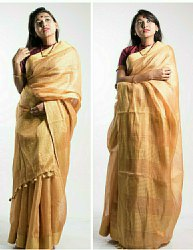 UF Party Wear Gold Tissue Linen Saree, 6.3 m (With Blouse Piece)