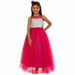 Chiffon Girl Long Gown, Packaging Type: Corrugated Box