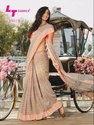Printed Multicolor Party Wear Fancy Soft Linen Saree