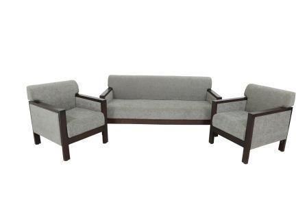 Wooden Espresso Colour Grey Fabric Sofa Set Of 3 1 1