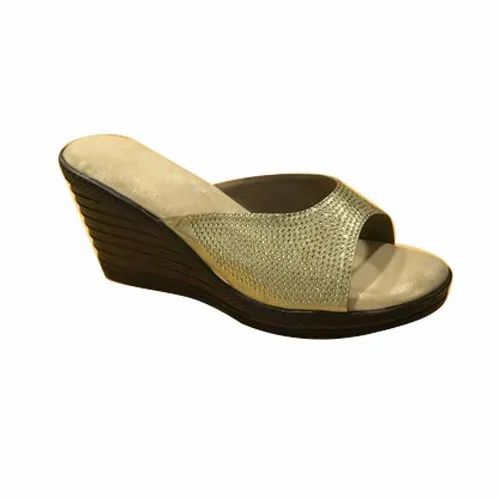Casual Wear Golden Strap Ladies Wedge Sandal, Size: 36-42