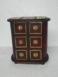 Wooden Metal Fitted Drawer, Wooden Chest With Ceramic Drawers, Attractive Indian Handicrafts