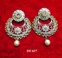 Artificial Gold Silver Pearl Earrings for Ladies
