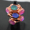 Glass Opal Gemstone Rose Gold Electroplated Ring