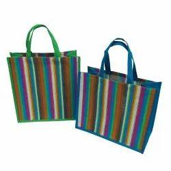 Tokra Impex Striped Stripe Print Jute Bag, Capacity: 15 Kgs, Size/Dimension: 38 X 38 X 18 Cm